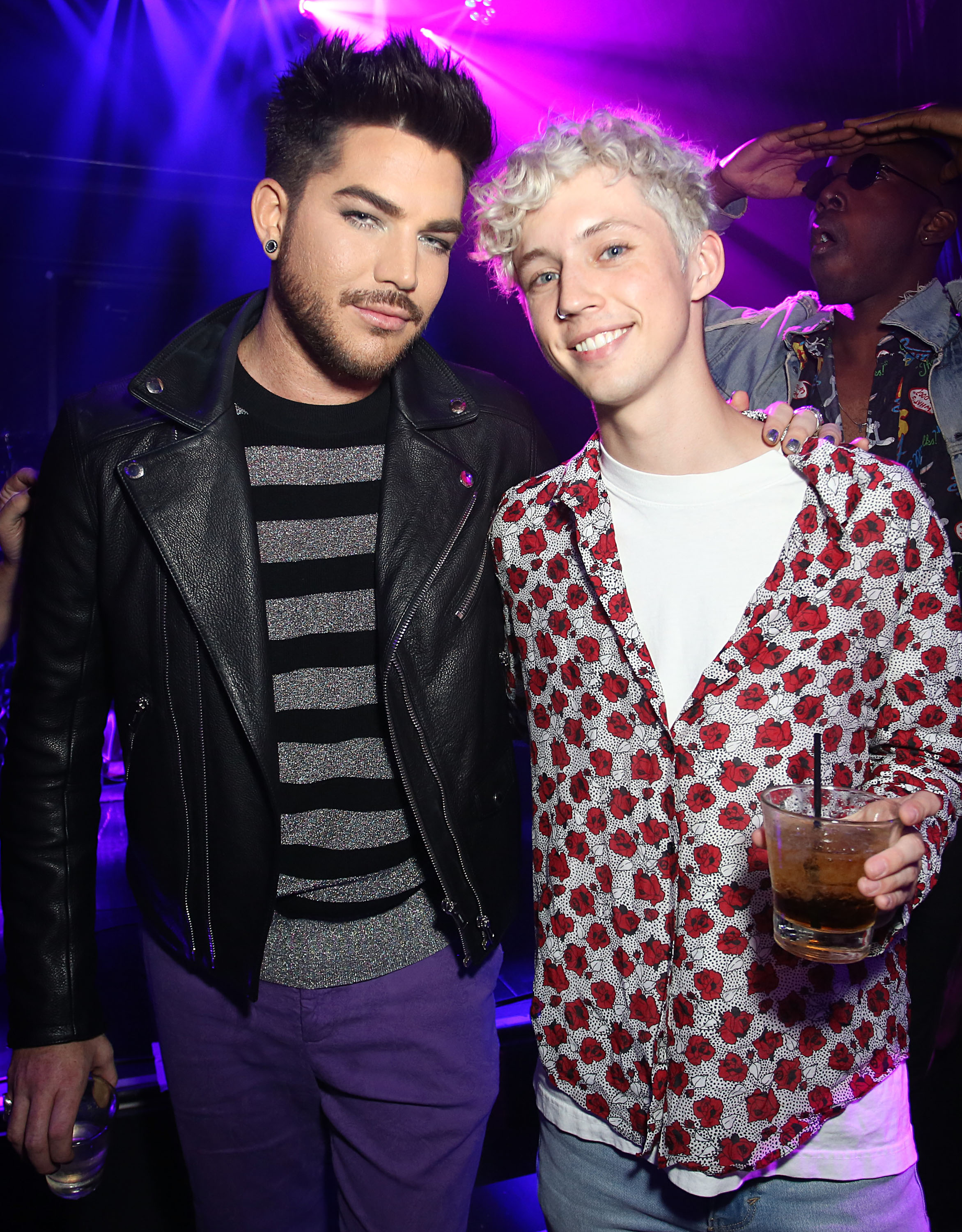 Adam Lambert and Troye Sivan attend the 'Believer' Spirit Day Concert presented by Justin Tranter and GLAAD at Sayer's Club on October 18, 2017 in Los Angeles