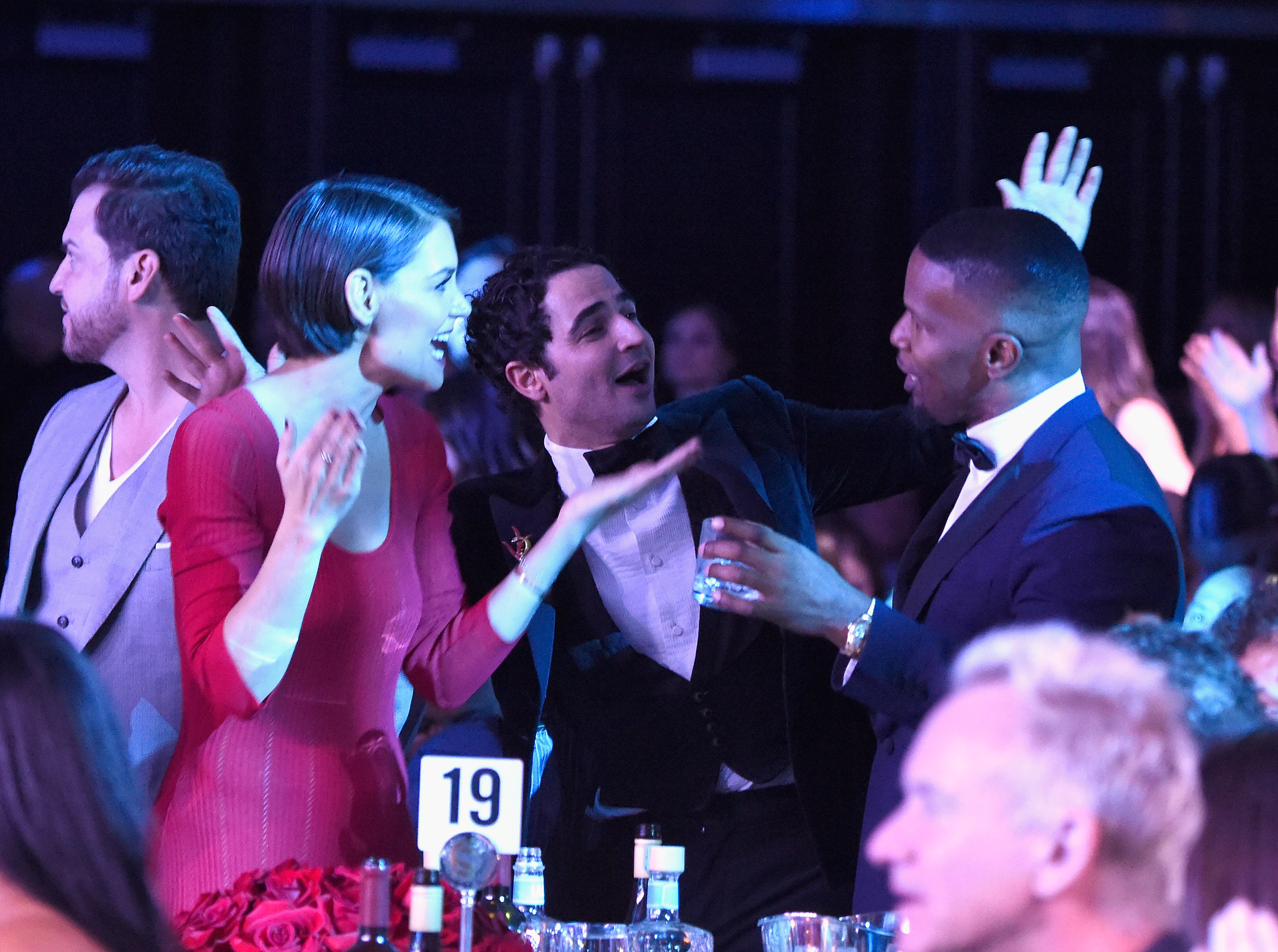 Katie Holmes, Zac Posen and Jamie Foxx attend the Clive Davis and Recording Academy Pre-Grammy Gala and Grammy Salute to Industry Icons Honoring Jay-Z on January 27, 2018 in New York City