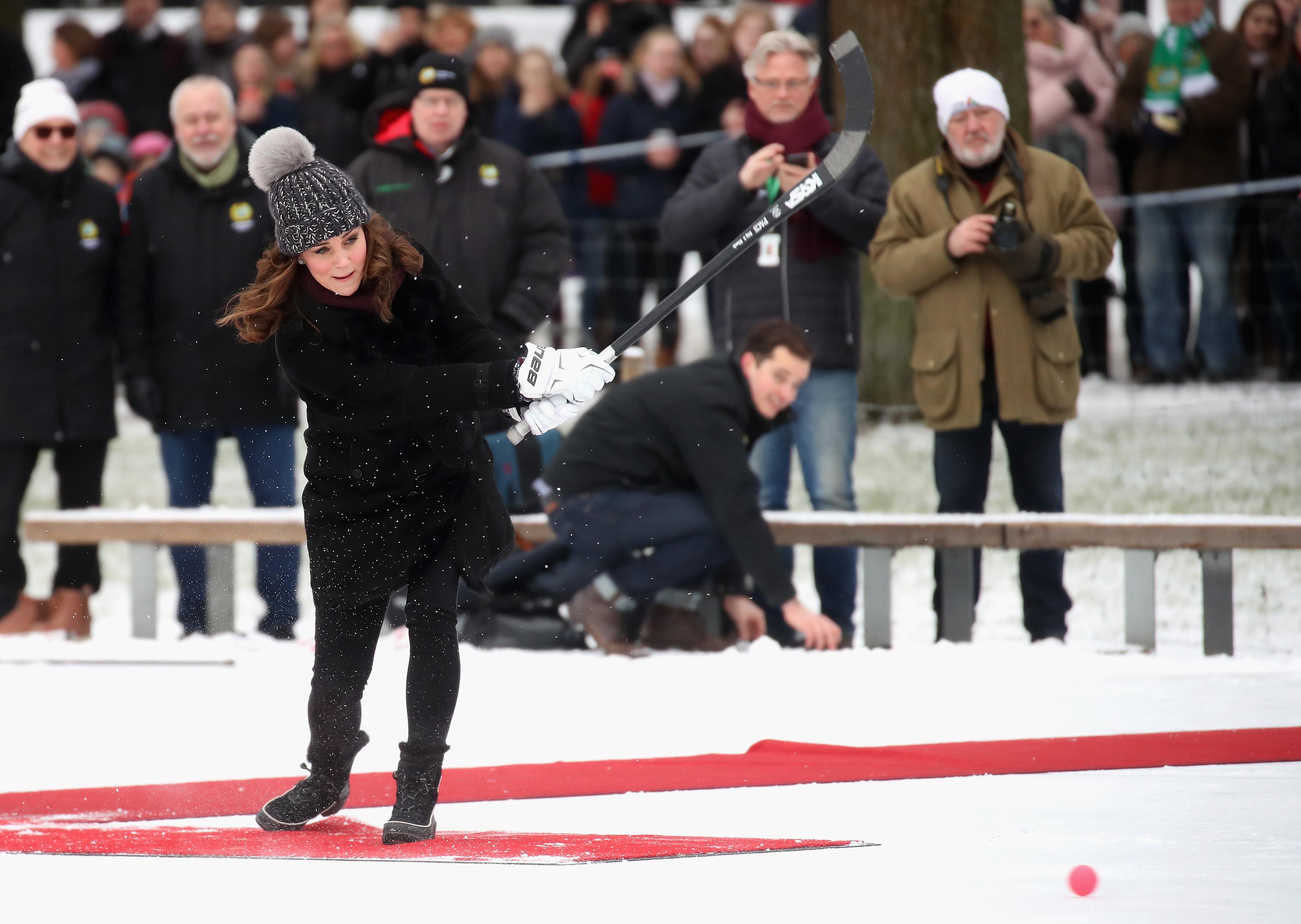 Catherine, Duchess of Cambridge attends a Bandy hockey match