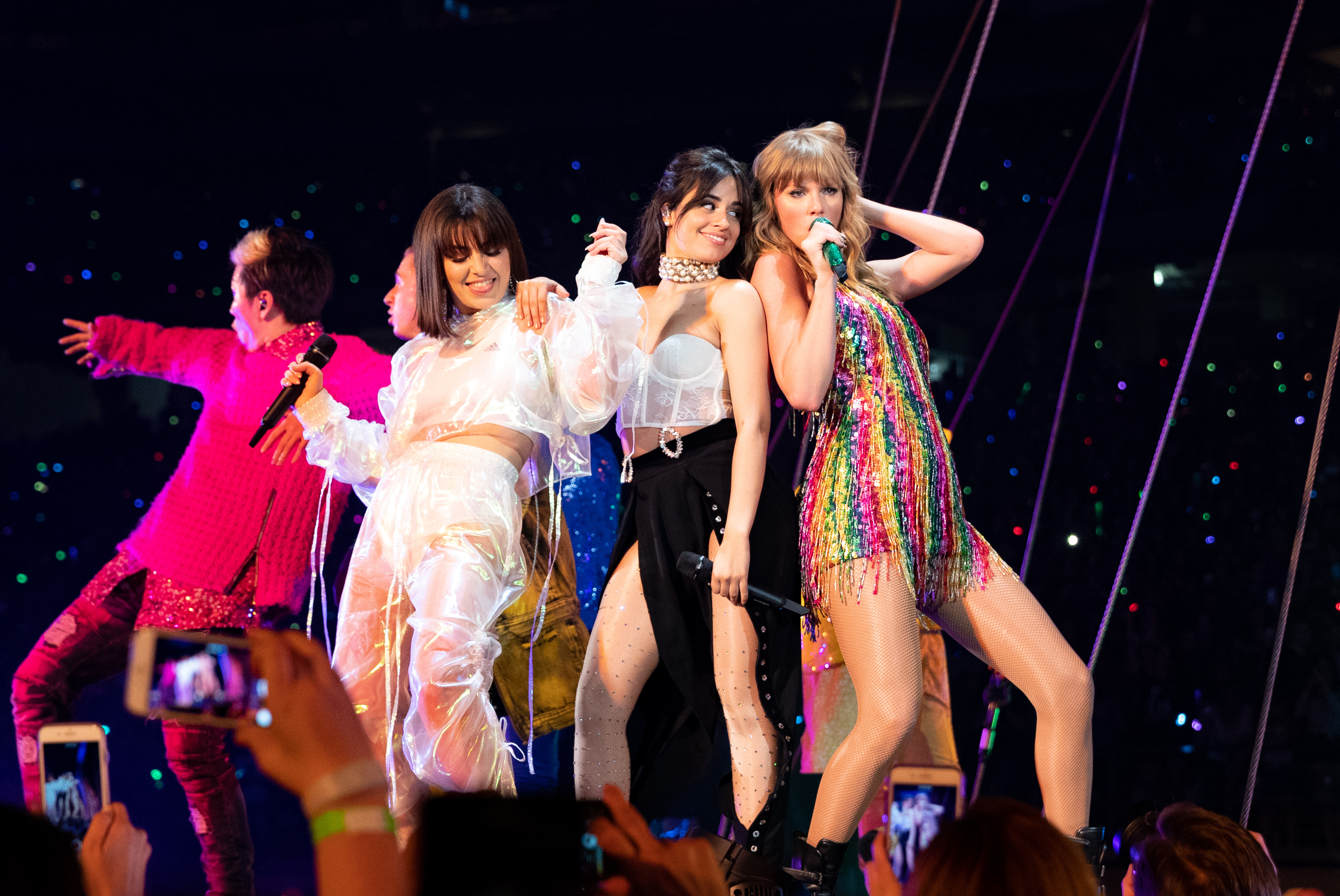 Charli XCX, Camila Cabello and Taylor Swift perform onstage during opening night of Taylor Swift's 2018 Reputation Stadium Tour at University of Phoenix Stadium on May 8, 2018 in Glendale, Ariz.