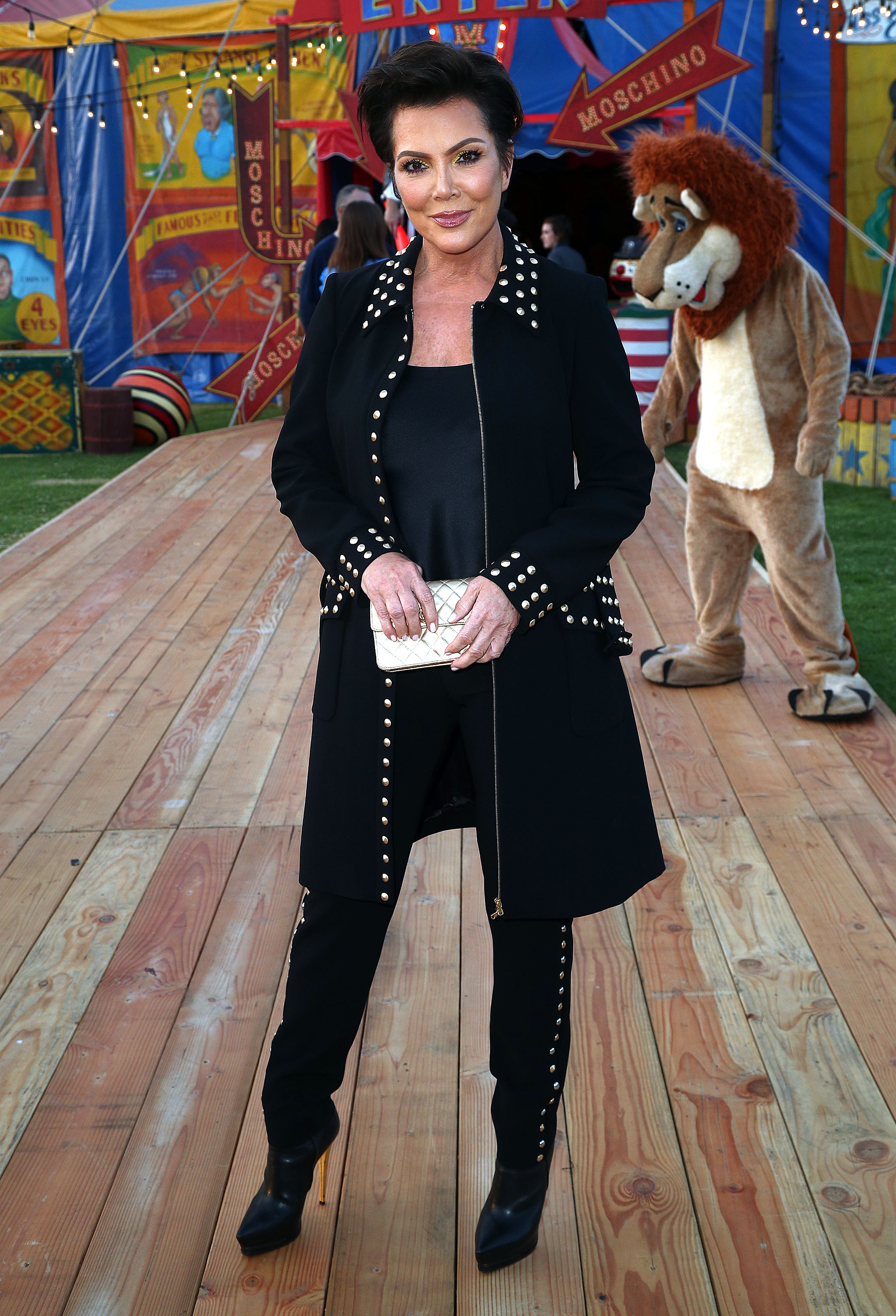 Kris Jenner attends Moschino Spring/Summer 19 Menswear and Women's Resort Collection at the Los Angeles Equestrian Center on June 8, 2018 in Burbank, Calif
