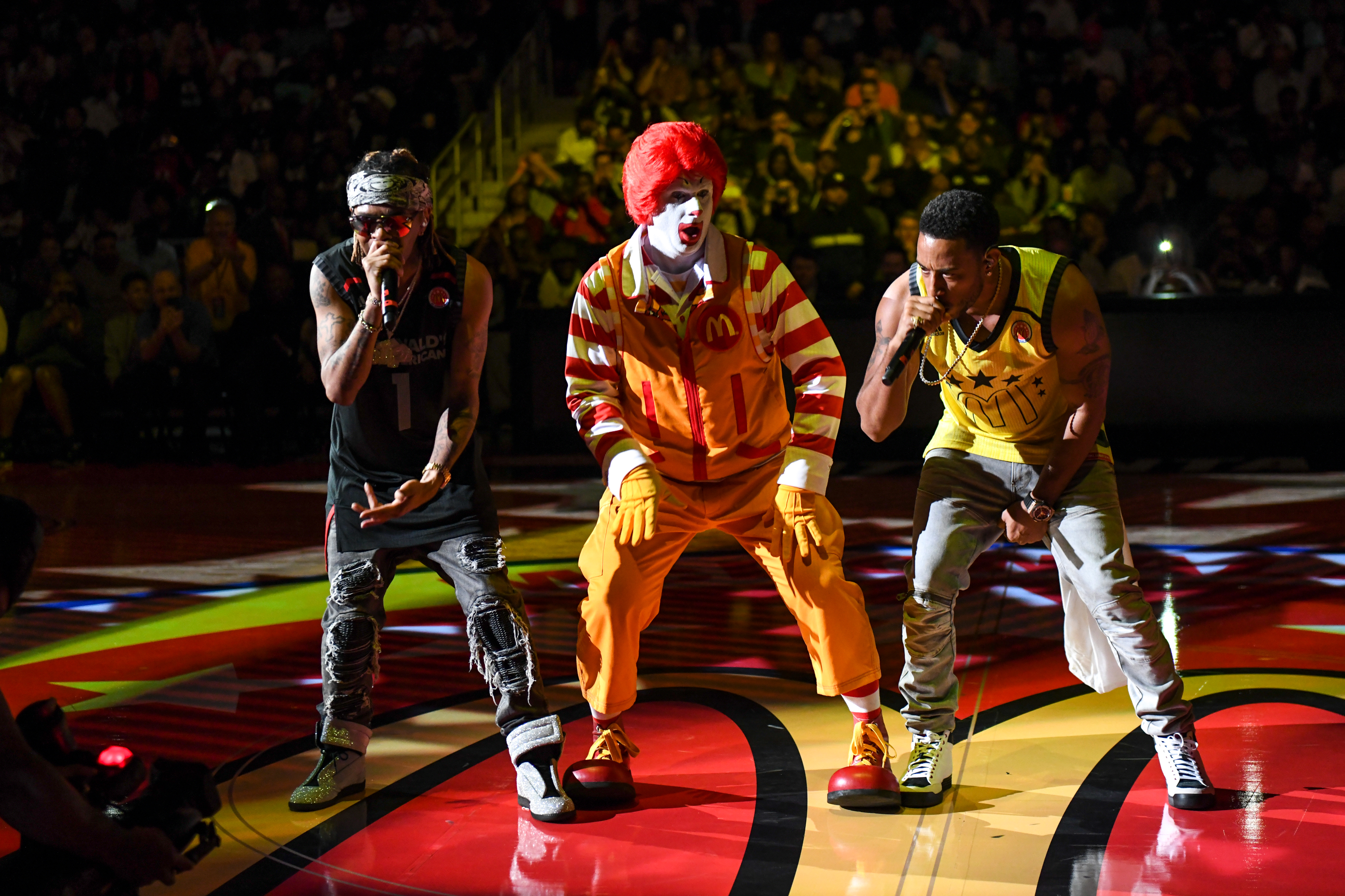 Ludacris and Ronald McDonald perform at the 2018 McDonald's All American Games at Philips Arena in Atlanta, Georgia on March 28, 2018
