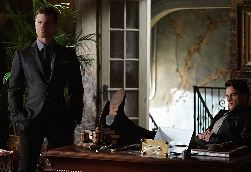 Daniel Gillies as Elijah and Andrew Lees as Lucien in 'The Originals' Season 3, Episode 16, 'Alone with Everybody'