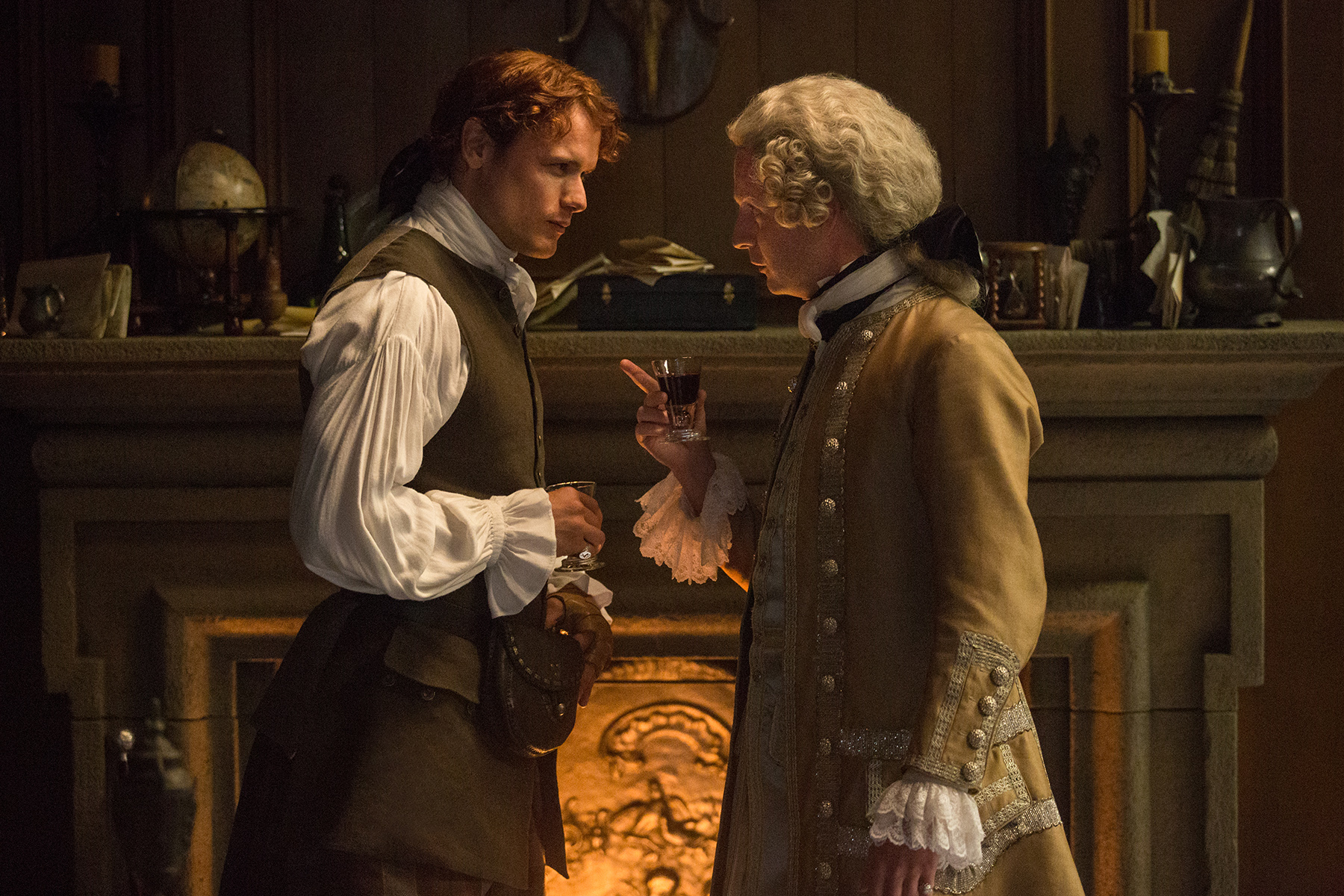 Sam Heughan as Jamie Fraser and Andrew Gower as Prince Charles Stuart in 'Outlander' Season 2, Episode 5 — 'Untimely Resurrection'