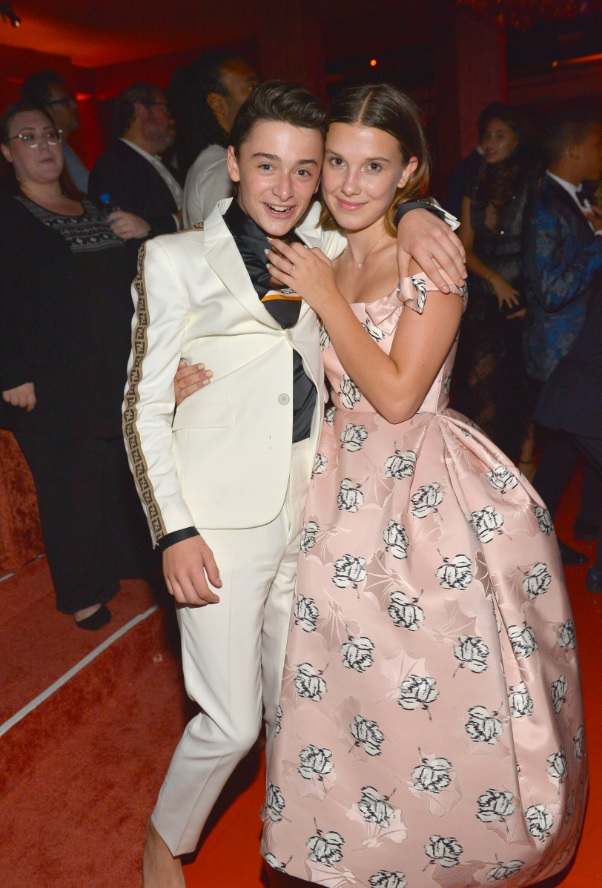Noah Schnapp and Millie Bobby Brown attend the 2018 Netflix Primetime Emmys After Party at NeueHouse Hollywood on September 17, 2018 in Los Angeles
